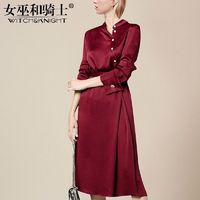 Vogue Attractive Slimming A-line High Neck It Girl 9/10 Sleeves Dress - Bonny YZOZO Boutique Store