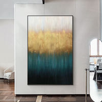Framed wall art acrylic Paintings on canvas Original abstract forest painting Gold blue art wall art large wall art Landscpe painting $123.75