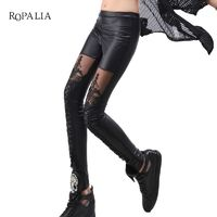 ROPALIA Women Pencil Leather Pants Punk Legging Fashion Sexy Woman Stitching Lace Stretch Skinny Leg Faux Leather Leggings $9.56