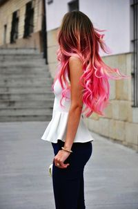 Curly Pink And Black Ombre Hair Extensions   via Tumblr & LISM