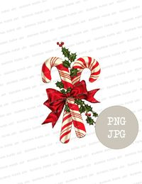 Vintage Christmas Candy Clipart, Digital Clipart, Instant Download Christmas Vintage Graphic Clip Art for Cards, Crafts