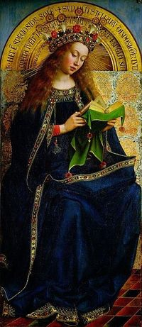The Virgin Mary ~ one of 24 compartmental scenes on The Ghent Altarpiece, Saint Bavo Cathedral, Ghent, Belgium. Considered a world-class masterpiece. The work was begun by Hubert van Eyck and upon his death in 1426 it was completed by his brother Jan van ...
