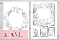Cactus & Succulents hand drawn 5 coloring pages, 3 different sizes, customizable