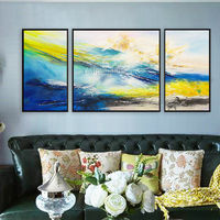 Modern Abstract Acrylic Painting Original blue and yellow paintings on canvas 3 pieces wall art large Wall Pictures cuadros abstractos $292.94