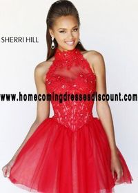 Red/Nude Lace Sexy Prom Dress by Sherri Hill 21193