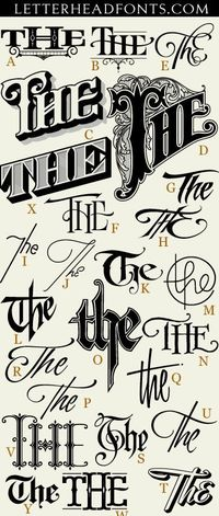 "62 hand drawn ""The's"" expertly crafted and ready for your designs. Each letter corresponds to a unique and stylish ""The"". Set also includes 3 free bonus glyphs. Save $21 and get 62 Thes & 62 Ands together. http://www.letterhead..."