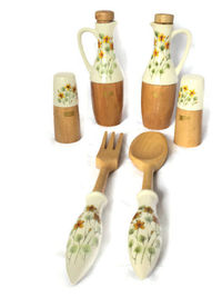 Kresge Salad Set 6 Pieces Oil and Vinegar Cruets Salt Pepper Shakers Spoon Fork in Box Danish Modern Style Mid Century NOS Vintage Home Mom $44.99