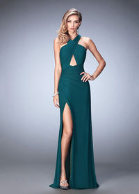 Sexy Criss Cross Halter Keyhole Forest Green Side Slit Evening Gown
