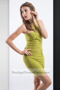 Discount Green Halter Neck Fitted Bandage Dress Online
