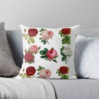 6 Rose Posies in Two Rows Throw Pillow