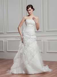 EMBELLISHED STRAPLESS PRINCESS SATIN WEDDING DRESS WITH LACE RUFFLES