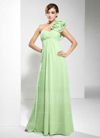 Empire One-Shoulder Floor-Length Chiffon Evening Dress With Ruffle Flower