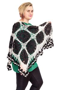 Warm black and white shawl as knit gift for mom, oversized crochet clothes for women plus size. Boho knitted shawl. Winter cape $48.00