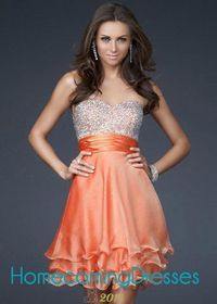 Sequined Sweetheart Strapless Orange Layered Chiffon Cocktail Dresses