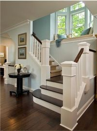 Obsessed with dark wood floors and white trim