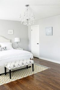 Gorgeous gray and white bedroom! Wish I could have that but my little ones (mostly the dogs) don't allow the white bedding...tried it!
