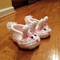 Bunny Baby Slippers By Teri Heathcote - Free Crochet Pattern - Photo By DGrabski88 On Ravelry - See http://www.ravelry.com/patterns/library/bunny-slippers-6 For Additional Projects - (knotyournanascrochet)