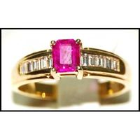 18K Yellow Gold Natural Diamond Ruby Wedding Ring [R0131]