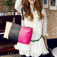 Chain Splicing Embossed Mixed Colors Vintage Fshion Crossbody Shoulder Bag