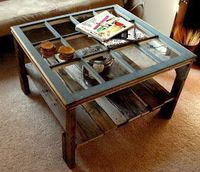 Rustic Coffee Table - made from a salvaged window & pallet wood #LiquidGoldSalvagedWood
