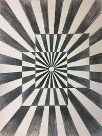 I love Op Art and I thought it would be the perfect lesson to teach Art 1's how to use colored pencils. We began by discussing Op Art, M.C. Escher, Victor Vasar