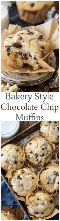 Bakery style chocolate chip muffins with big fluffy muffin tops || Sugar Spun Run