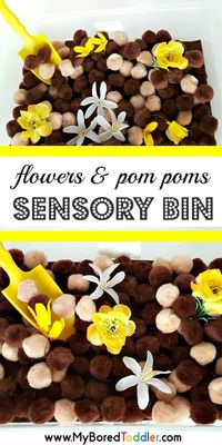 Spring is a great time to get out your sensory bins, and this flowers and pom pom Spring sensory bin is a lovely easy one to set up. With plastic or cloth flowe