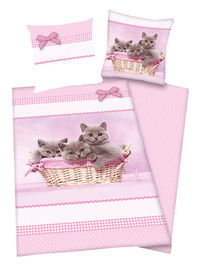 Generic Kittens Duvet Cover and Pillowcase Set 100% Cotton. Machine Washable. Colour: Pink. http://www.comparestoreprices.co.uk//generic-kittens-duvet-cover-and-pillowcase-set.asp