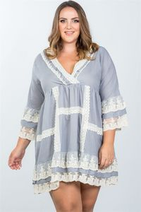 20% discount with BESTDEAL at checkout! Ladies fashion plus size grey boho lace crochet trim dress $24.00