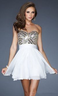 Short White Beaded Top 2013 Homecoming Dresses