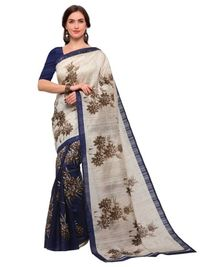 Blue Art Silk Bhagalpuri Printed Saree
