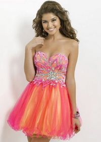 Glittering Beaded Top Hot Pink Yellow Short Cocktail Dress