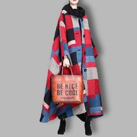 Winter Plaid Wool Coat, Cashmere Coat, Women Coat, Plus Size Clothing, Asymmetric Coat, Long Coat, Winter Clothing