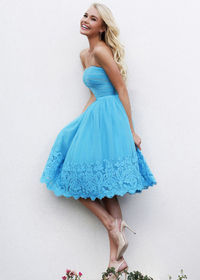 Turquoise Strapless Ruched 11092 Lace Cocktail Dress
