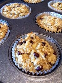 """A poster says's: """"I could eat them everyday for breakfast!"""" [Oatmeal Cupcakes: 3 mashed bananas (the riper the better!), 1 cup vanilla almond milk, 2 eggs, 1 tbsp baking powder, 3 cups oats, 1 tsp vanilla extract, 3 tbsp mini chocola..."""