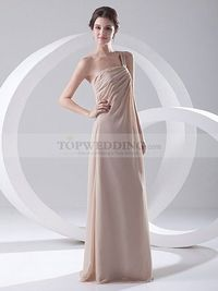 ONE SHOULDER STRAP CHIFFON FLOOR LENGTH EVENING DRESS WITH PLEATING