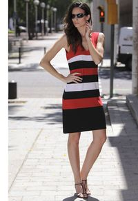 Tank Style V Neck Red, Black, White Color Block Stripe A-Line Pullover Dress