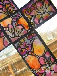 """""""stained glass"""" Easter Cross (using watercolor paints)"""
