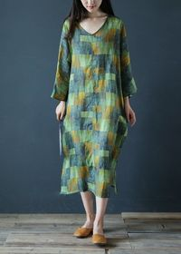 Green linen dress, Long dress women, Hippie dress women, Boho dress women, Linen 3/4 Sleeve Tunic Dress, Maxi kaftan, Oversize tunic