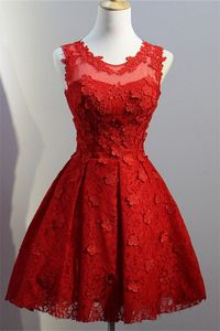 Ball Gown Round Neck Sleeveless Short Red Lace Prom Dress
