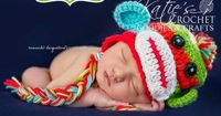 Free Sock Monkey Hat Pattern #newborn #photography #crochet