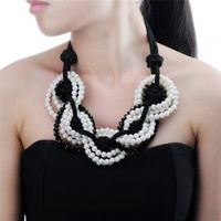 Fashion Jewelry Chain Resin Pearl Crystal Choker Chunky Statement Bib Necklace