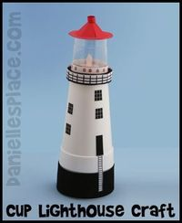 Free with printable patterns Lighthouse Craft Made with Cups Kids Can Make from www.daniellesplace.com