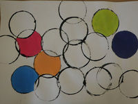 circle art painting (blk paint first, once dry color in (or paint in)