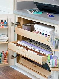 If you're planning a crafts room, or maybe just a small dedicated space, look at these rooms for terrific organization and decorating ideas.