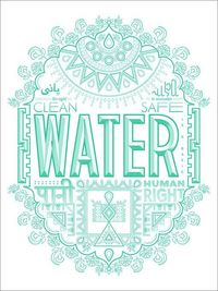 charity water, water and posters.