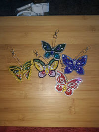 Sparkly Butterfly Keychains-Beaded Key Ring-Glimmery Key Fob-Purse Accessories-Bookbag Trinket-Gift Idea-Good Behavior Award Idea-Pendant $8.00
