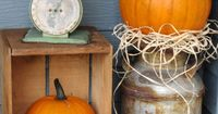 Rustic Fall Porch- I love love love the milk can!!! Definitely going to see if my grandparents have these laying around on the farm :)