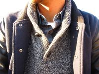 Great combo. The jacket and the sweater are both nice and chunky. Gives it a full, masculine appearance.