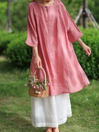 Women's 3/4 sleeves dress, Pink Dress, Linen tunic dress, Cotton dress, Maxi Dresses, Plus size clothing, Party Dress, Cocktail Dress